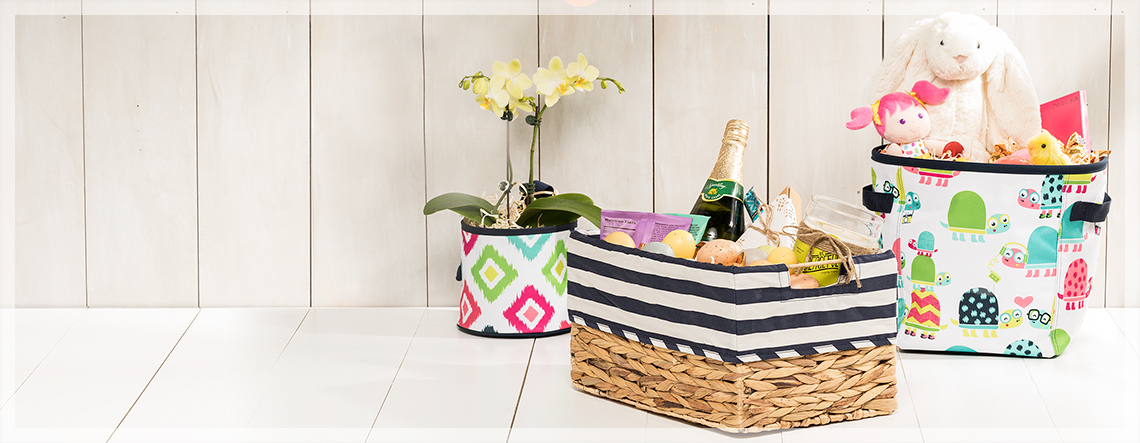Easter themed items in totes and baskets