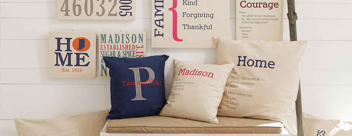 Personalized art and pillows