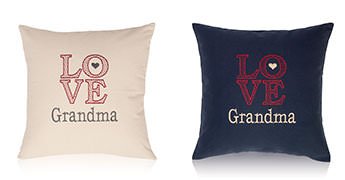 Pillows embroidered with Love