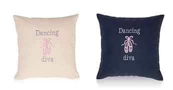 Pillows embroidered with Ballet Shoes