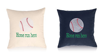 Pillows embroidered with Baseball