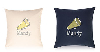 Pillows embroidered with a Cheer Megaphone