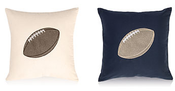 Pillows embroidered with a Football