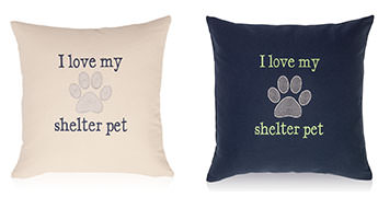Pillows embroidered with a Paw Print