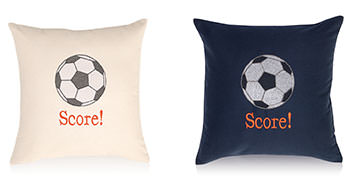 Pillows embroidered with a Soccer Ball