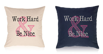 Pillows embroidered with Ampersand