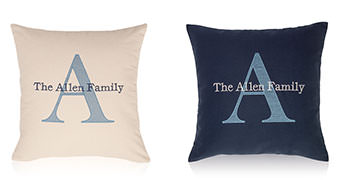 Pillows embroidered with a Background Initial