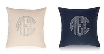 Pillows embroidered with a Large Circle Monogram