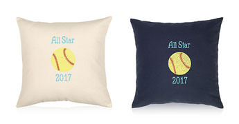 Pillows embroidered with a Softball