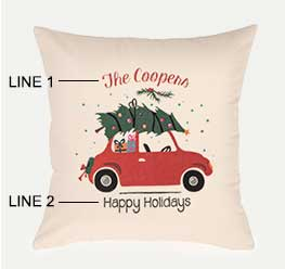 Example of a family holiday pillow