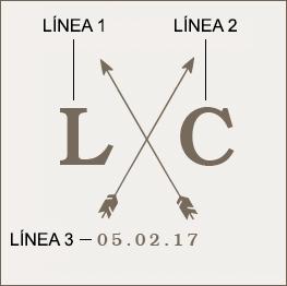 Ejemplo de un grabado de monograma de flecha