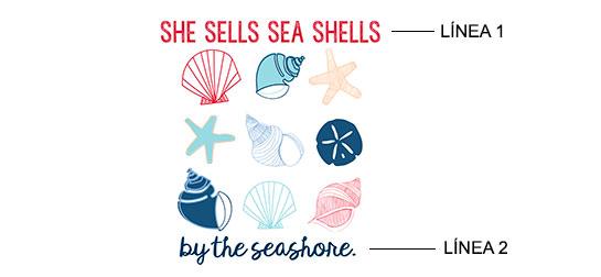 Ejemplo de impresión de Conchas de mar