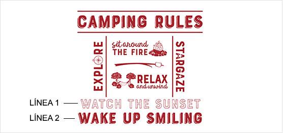 Ejemplo de estampado de reglas del campamento