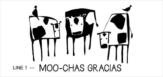 Ejemplo de estampado de trío de vacas