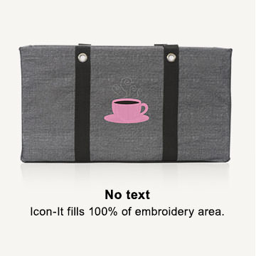 No text - Icon-it fills 100% of embroidery area