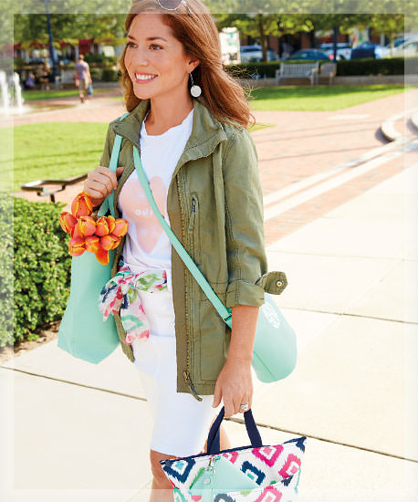Hostess walking with Thirty-One bags